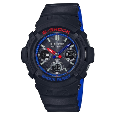 Casio G-Shock AWG-M100SLT-1AJF Layered Black & Tricolor Tough Solar Multiband 6 Men's Watch - JDM (Japanese Domestic Market) Model