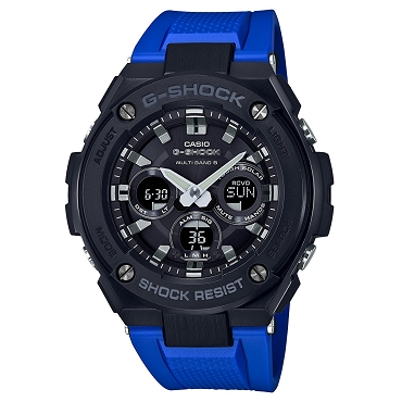 Casio G-Shock G-Steel GST-W300G-2A1JF Black x Blue Tough Solar Multiband 6 Men's Watch - JDM (Japanese Domestic Market) Model