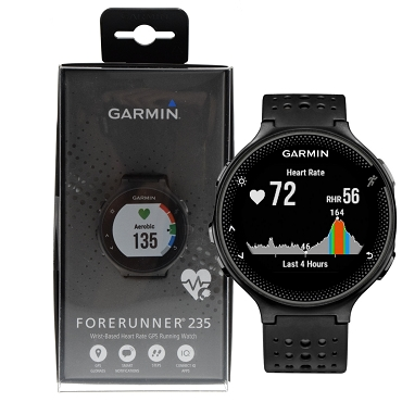 Garmin Forerunner 235 GPS Running Watch with Wrist-based HRM Monitor - Black / Gray (extra Black Color Silicone Band Included)