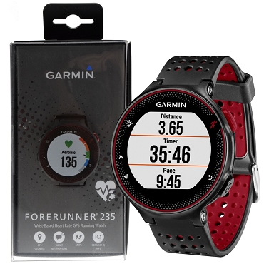 Garmin Forerunner 235 GPS Running Watch with Wrist-based HRM Monitor - Black / Red (extra Black Color Silicone Band Included)