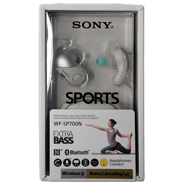 Sony WF-SP700N Sports True Wireless Bluetooth NFC Digital Noise Canceling Earbuds Headphones - White