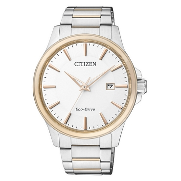 Citizen BM7294-51A Eco-drive Dual Tone Sapphire Glass White Dial Men's Watch - Made in Japan