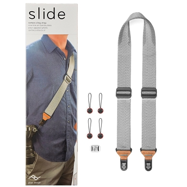 Peak Design SL-AS-3 Slide Sling, Shoulder, or Neck Camera Strap with Anchor Mount - Ash