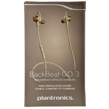 Plantronics BackBeat GO 3 Sweatproof Bluetooth Wireless Stereo Stable Comfort-fit Headset Earbuds - Grey / Copper