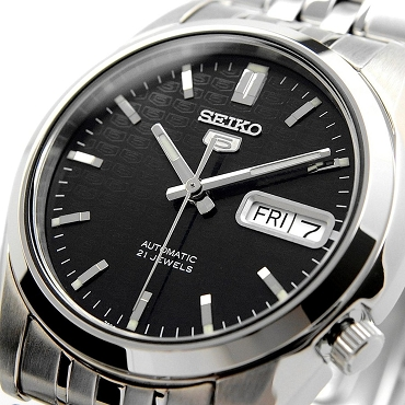 Seiko 5 SNK361K1 SNK361 Automatic 21 Jewels Black Dial Stainless Steel Men's Watch