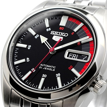 Seiko 5 SNK375K1 SNK375 Automatic 21 Jewels Black Dial Stainless Steel Men's Watch