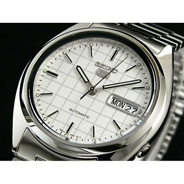 Seiko 5 SNXF05 SNXF05K1 Automatic 21 Jewels White Dial Stainless Steel Men's Watch