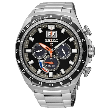 Seiko SSC603P1 Prospex Sky Solar Quartz Black Dial Chronograph Stainless Steel Men's Watch