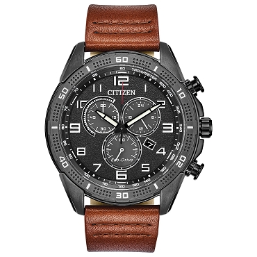 Citizen AR Eco-Drive Chronograph Black Dial Brown Leather Strap 100M Men's Watch AT2447-01E