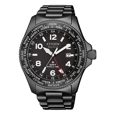 Citizen Promaster Land BJ7107-83E Eco-Drive GMT World Time Black Dial Grey Plating Stainless Steel Men's Watch
