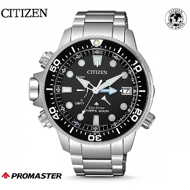 Citizen Promaster Aqualand BN2031-85E Eco-Drive Black Dial Stainless Steel Depth Gauge Men's Diver Watch