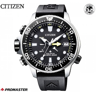 Citizen Promaster Aqualand BN2036-14E Eco-Drive Black Dial Black Rubber Strap Depth Gauge Men's Diver Watch