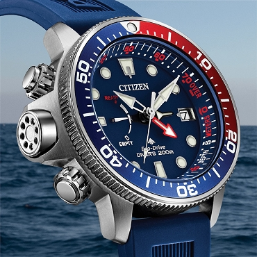 Citizen Promaster Aqualand BN2038-01L Eco-Drive Blue Dial Blue Rubber Strap Depth Gauge Men's Diver Watch