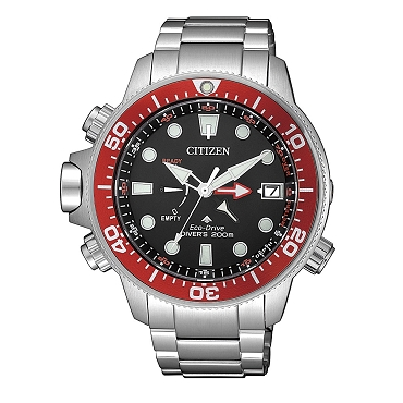 Citizen Promaster Aqualand BN2039-59E Eco-Drive Black Dial Stainless Steel Depth Gauge Men's Diver Watch