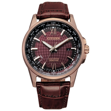Citizen Eco-Drive BX1009-10X World Time Perpetual Calendar Brown Dial Brown Leather Strap Men's Watch