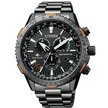 Citizen Promaster Sky CB5007-51H Eco-Drive Radio Controlled Chronograph Perpetual Calendar Black Dial Stainless Steel Men's Watch