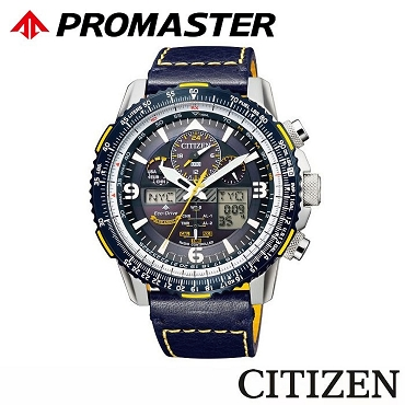 Citizen Promaster Blue Angel Skyhawk JY8078-01L Eco-Drive Global Radio Controlled Blue Dial Blue Leather Strap Men's Watch
