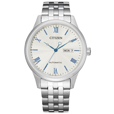 Citizen Mechanical NH7501-85A 21 Jewels Automatic Date and Day Display White Dial Stainless Steel Men's Watch
