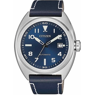 Citizen Mechanical NJ0100-20L 21 Jewels Automatic Blue Dial Blue Leather Strap Men's Watch