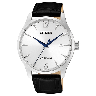 Citizen Mechanical NJ0110-18A 21 Jewels Automatic Silver Dial Black Leather Strap Men's Watch