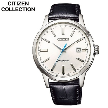 Citizen Collection Classic Series NK0000-10A 21 Jewels Automatic Silver Dial Black Calf Leather Strap Men's Watch