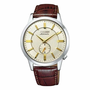 Citizen Mechanical NK5000-12P Automatic White Dial Brown Leather Strap Men's Watch