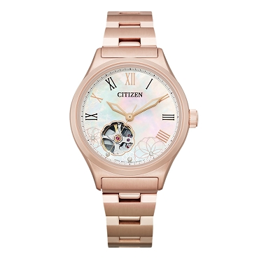 Citizen Mechanical PC1007-81D Open Heart Automatic Mother Of Pearl Dial Pink Gold Plating Stainless Steel Women's Watch