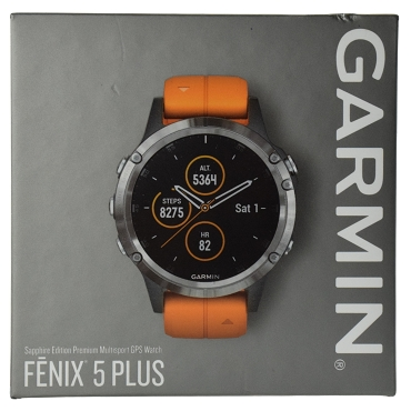 Garmin fenix 5 Plus Sapphire Multi-sport GPS Watch Titanium with Solar Flare Orange Band (47mm) 010-01988-73