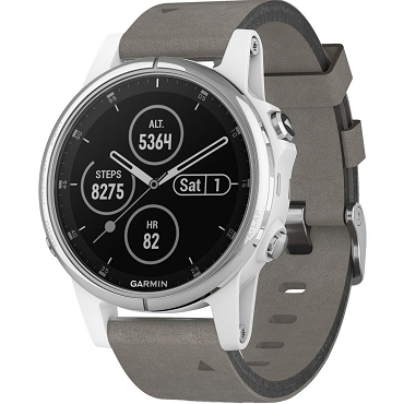 Garmin fenix 5S Plus Sapphire Edition Multi-sport Training GPS Watch (42mm, White with Gray Suede Band) 010-01987-90 (English / Chinese)