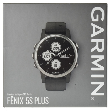 Garmin fenix 5S Plus Multi-sport Training GPS Watch (42mm, Silver with Black Band) 010-01987-63