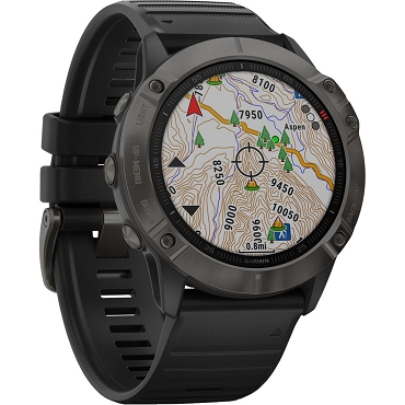Garmin fenix 6X Multisport GPS Smartwatch (51mm, Sapphire, Carbon Gray DLC / Black Band) 010-02157-10