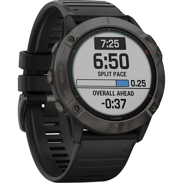 Garmin fenix 6X Pro Solar Multisport GPS Smartwatch (51mm, Titanium Carbon Gray DLC / Black Band) 010-02157-20