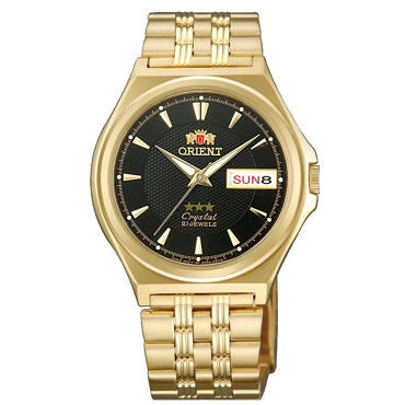 Orient FAB02001B9 21 Jewels Automatic Gold Band Black Dial Stainless Steel Men's Watch