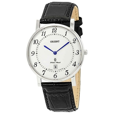 Orient FGW0100JW0 Classic White Dial Leather Band Sapphire Men's Quartz Watch
