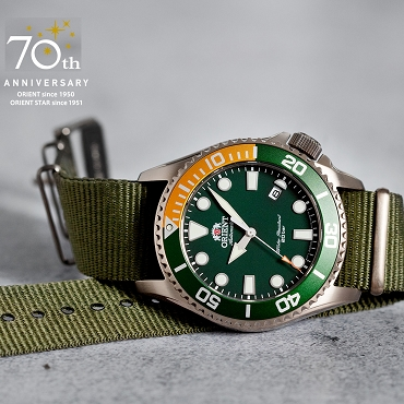 Orient Sports RA-AC0K04E 70th Anniversary Automatic 200M Green Dial Men's Diver Watch