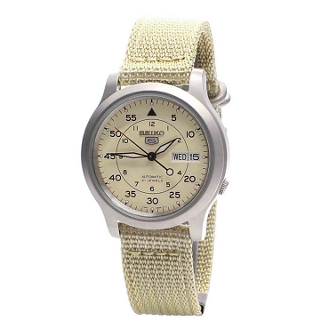 Seiko 5 SNK803 SNK803K2 Military Style Automatic 21 Jewels Stainless Steel Men's Watch with Beige Canvas Strap