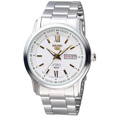 Seiko 5 SNKP15J1 SNKP15 21 Jewels Automatic 42mm White Dial Stainless Steel Men's Watch - Made in Japan