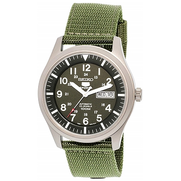 Seiko 5 SNZG09 SNZG09K1 Army Style Automatic 23 Jewels Stainless Steel Men's Watch Green Nylon Band