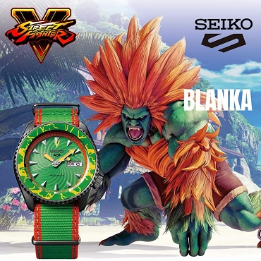 Seiko 5 Sports SRPF23K1 Street Fighter V BLANKA Green Dial Automatic Men's Watch Limited 9999 pcs Worldwide