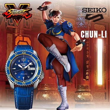 Seiko 5 Sports SRPF17K1 Street Fighter V CHUN-LI Blue Jade Blue Dial Automatic Men's Watch Limited 9999 pcs Worldwide