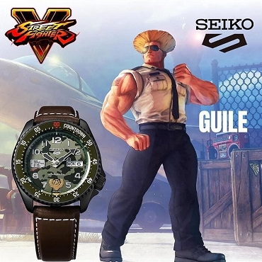 Seiko 5 Sports SRPF21K1 Street Fighter V GUILE Green Dial Automatic Men's Watch Limited 9999 pcs Worldwide