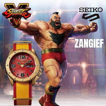 Seiko 5 Sports SRPF24K1 Street Fighter V ZANGIEF Red Dial Automatic Men's Watch Limited 9999 pcs Worldwide