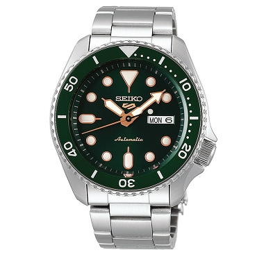 Seiko 5 SRPD63K1 SRPD63K Automatic 24 Jewels Green Dial Stainless Steel Men's Watch