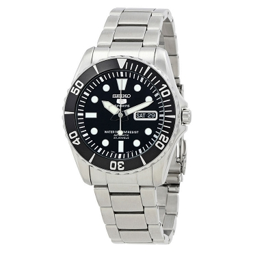Seiko 5 Submariner SNZF17 SNZF17K1 Automatic 23 Jewels Black Dial Stainless Steel Men's Watch