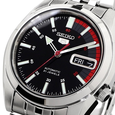 Seiko 5 SNK375J1 SNK375 Automatic 21 Jewels Black Dial Stainless Steel Men's Watch - Made in Japan