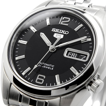 Seiko 5 SNK393K1 SNK393 Automatic 21 Jewels Black Dial Stainless Steel Men's Watch