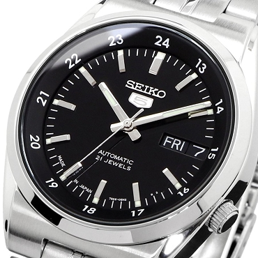 Seiko 5 SNK567J1 SNK567 Automatic 21 Jewels Black Dial Stainless Steel Men's Watch - Made in Japan