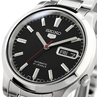 Seiko 5 SNK795K1 SNK795 Automatic 21 Jewels Black Dial Stainless Steel Men's Watch