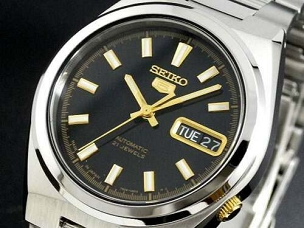 Seiko 5 SNKC57 SNKC57J1 21 Jewels Automatic Black Dial Gold Hand Stainless Steel Men's Watch - Made in Japan