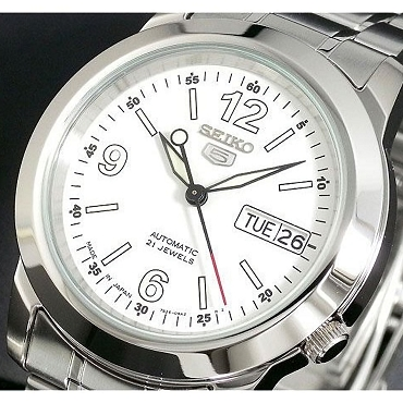 Seiko 5 SNKE57J1 21 Jewel Automatic White Dial Stainless Steel Men's Watch - Made in Japan